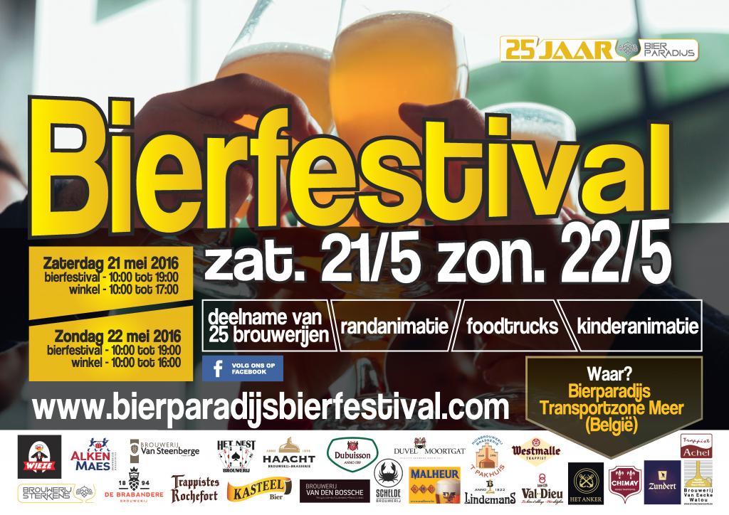 Affiche Bierparadijs Bierfestival 21 & 22 mei 2016