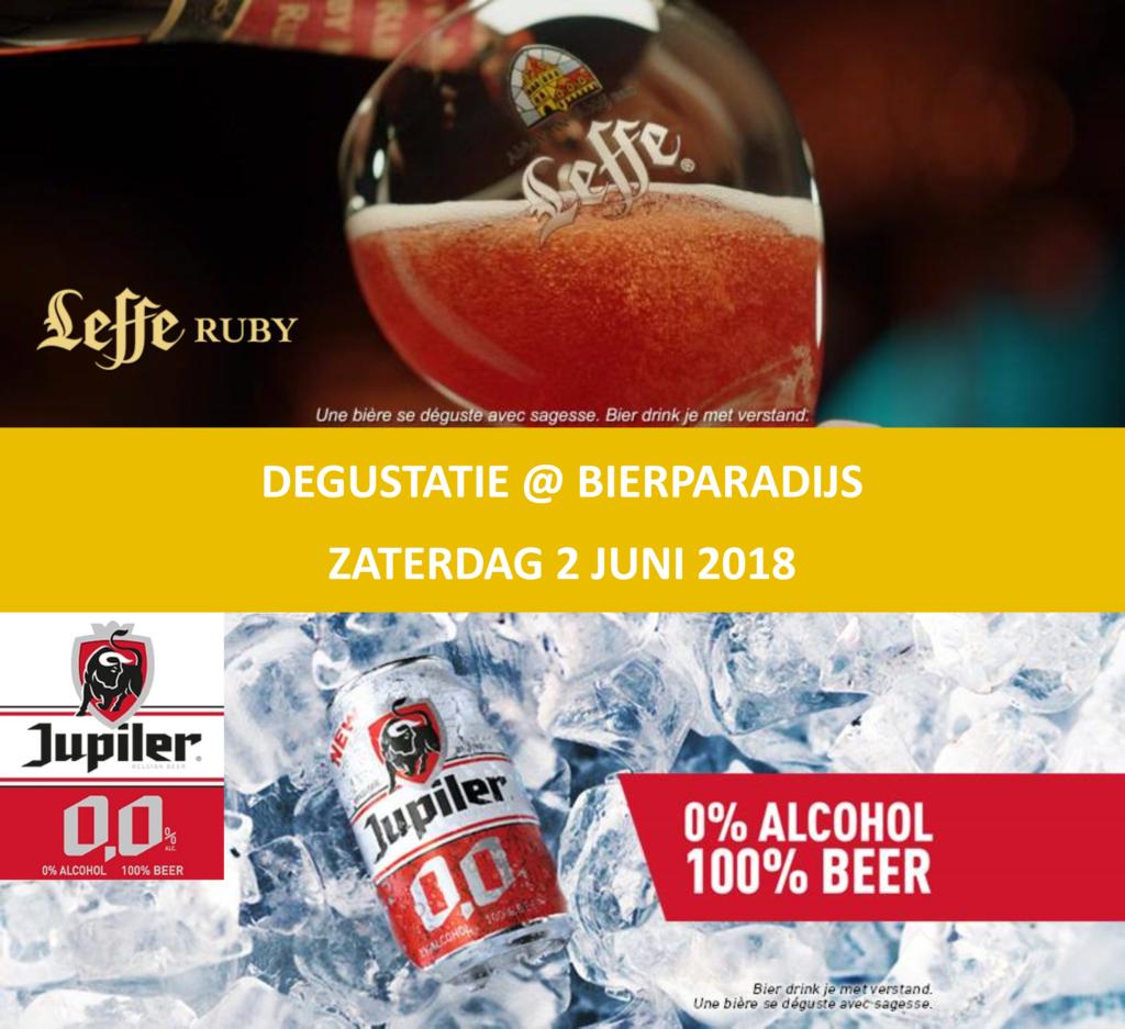 Degustatie Leffe Ruby & Jupiler 0.0% - Bierparadijs