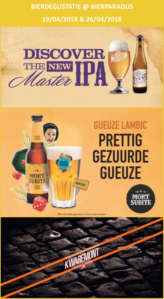 Viven Master IPA, Mort Subite Gueuze Lambic & Kwaremont - Degustatie Bierparadijs