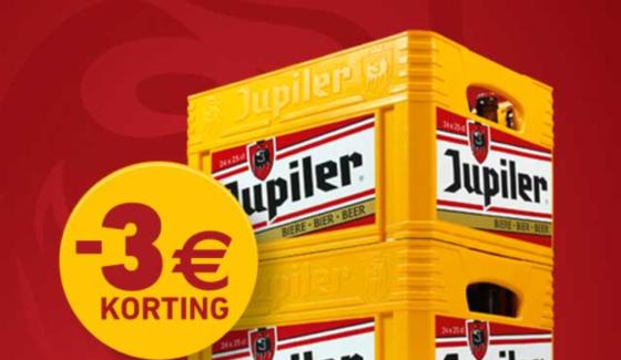 €3 korting bij aankoop van 2 bakken Jupiler 24 x 25 cl