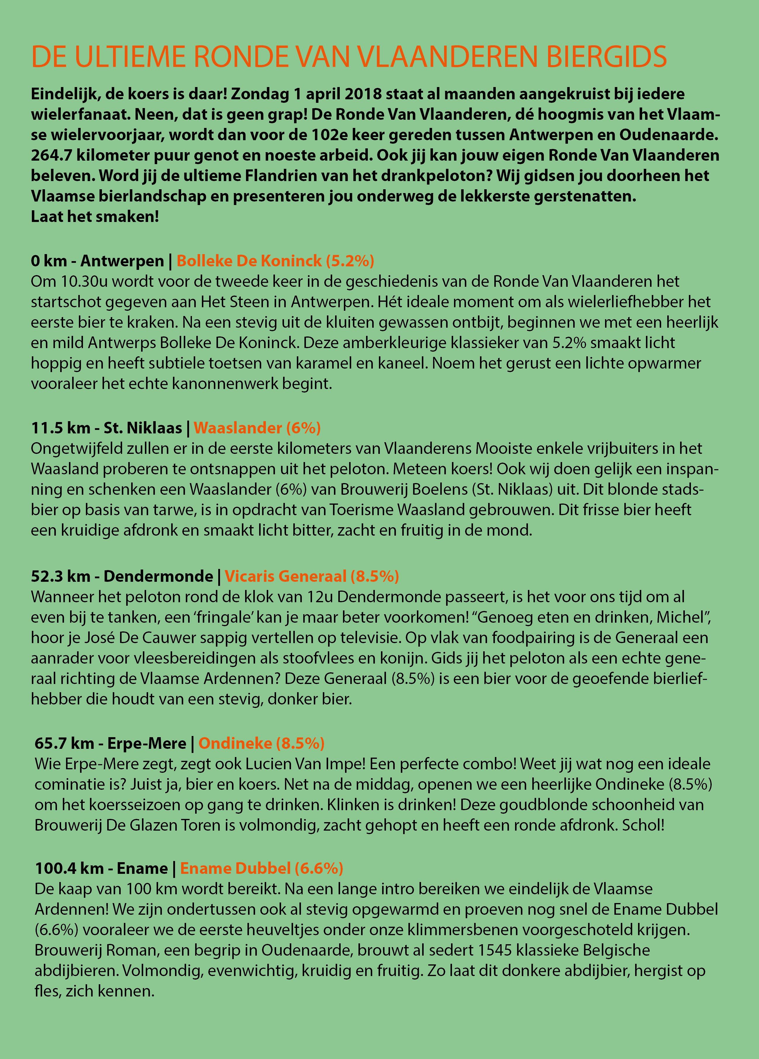 Ronde Van Vlaanderen 2018 Biergids - Bierparadijs - Blz1