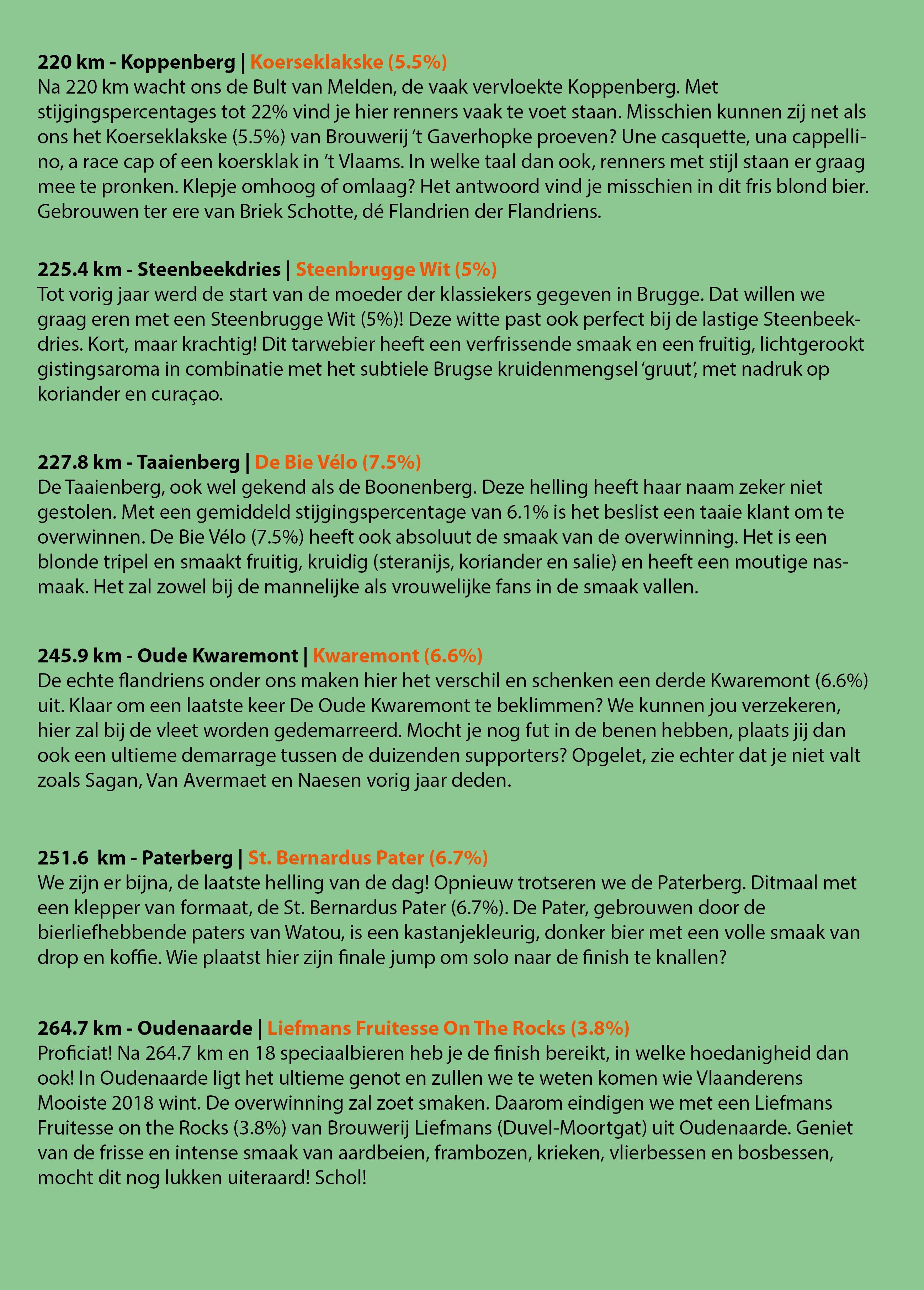 Ronde Van Vlaanderen 2018 Biergids - Bierparadijs - Blz3